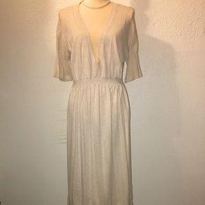 The Gap, Size Large Cotton Mid Length Beige Dress